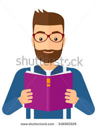a hipster man with the beard reading a book vector flat design ilration isolated on white