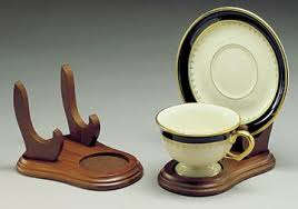 Cup And Saucer Display Stand Cup and Saucer Holders Wood Elevated Tea Cup and Plate Stand 13
