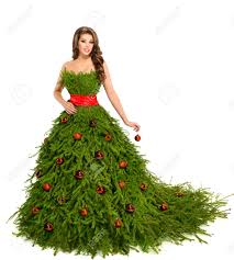 Christmas Tree Woman Dress Fashion Model Isolated On White Girls Christmas Tree Dress