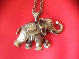 elephant bronze pendant on chain