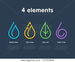 water feng shui element infographics. Nature Elements. Water, Fire, Earth, Air. Infographic Logo Water Feng Shui Element Infographics