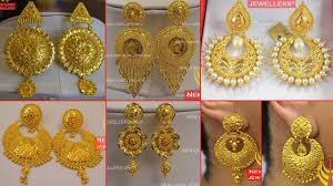 Madrasi Gold Jhumka Designs Latest Gold Chandbali Earrings Designs Collections 2019
