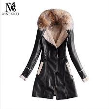 2019 whole 2017 new winter fashion street women s long leather jacket women leather coat female zipper warm jackets good quality black from ario