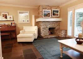 B Corner Brown Brick Fireplace Combined With White Floating Shelf Also  Pictures Above Completed Cream Wall