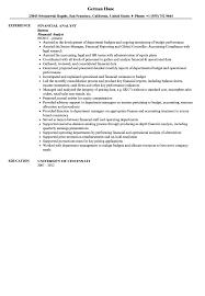Financial Analyst Resume Sample Velvet Jobs