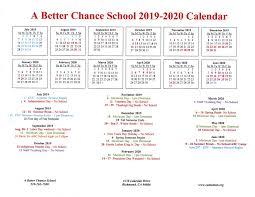 A Better Chance School 2019 2020 Calendar California