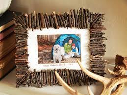help kids make a rustic frame for dad