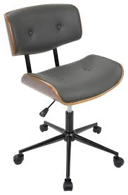 mid century office chair. lombardi height adj office midcentury modern chair walnut and gray contemporary mid century f
