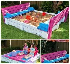 build a sandbox with cover lid and benches