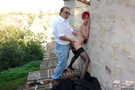 Redhead girl gets fucked hard outdoor by an old horny man Ass Point