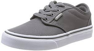 vans kids shoes. vans kids atwood (canvas) pewter/white skate shoe 2 us shoes
