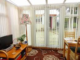 single french patio door with blinds