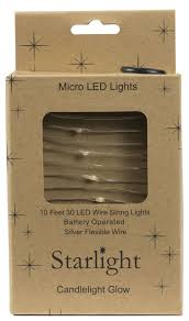 10 30 Led Micro Light Silver Wire W Battery Box Candlelight