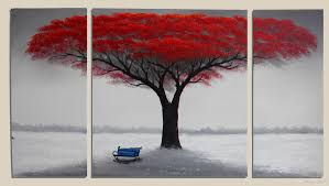 3 pieces canvas art handpainted red tree painting large wall decoration wood frame inside ready to hang 2018 from jack92 41 45 dhgate mobile