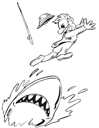 Small Picture Shark Coloring Page Fisherman Shark