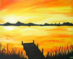 wine canvas sunset dock painting