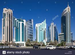 baywest city green office building. Qatar, Doha, Doha Bay, West Bay Skyscrapers, Morning - Stock Image Baywest City Green Office Building A