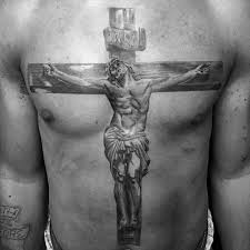 cross chest tattoo designs. Interesting Cross Guy With Jesus On Wood Cross 3d Full Chest Tattoo And Designs _