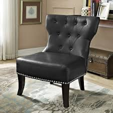 Furniture Kitchener Simpli Home Kitchener Black Bonded Leather Accent Chair