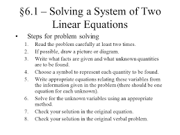 6 1 solving a system of two linear equations