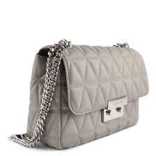 sloan pearl grey large quilted shoulder bag