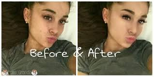i just made a before and after edit of ariana with makeup if you want to know what app i used for the makeup is called youcam makeup and the collage is