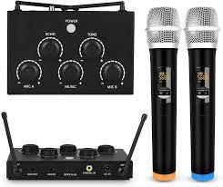Amazon.com: Rybozen Portable Karaoke Microphone Mixer System Set with Dual  UHF Wireless Mic, 3.5mm AUX/Optical/Coaxial in Singing Receiver for KTV,  Amplifier, Speaker: Musical Instruments