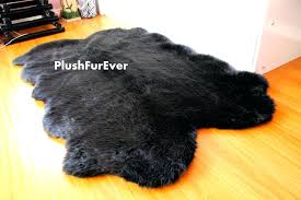 sheepskin faux fur throw rug nursery area carpet black white lodge cabin round