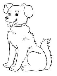 Tranh tô màu chú chó đang ngồi cute « in hình này