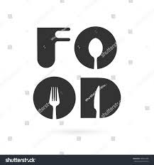 Fork Design Creative Food Word Logo Elements Design With Spoon Knife And