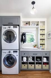 Grey Laundry Room Cabinets - Transitional - Laundry Room