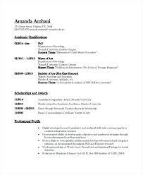 Academic Resume Sample Academic Resume Template 6 Free Word Document