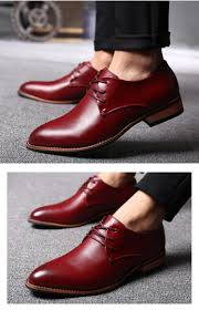 new men dress shoes men oxfords for men leather shoes pointed toe formal shoes lace up brown black red