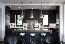 rocky ledge kitchen mid sized trendy galley kitchen photo in sydney with flat panel cabinets black black kitchen island lighting