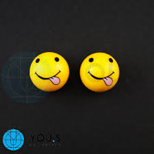 2 stück emotion smileys zunge ventilkappen in gelb