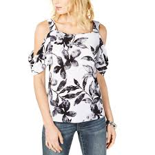 Inc International Concepts Floral Cold Shoulder Top Casual