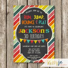 bright colors little gym birthday party invitation bounce bounce house birthday party invitation run jump 128270zoom