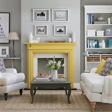 Yellow and grey furniture Grey Green Grey Living Room With Yellow Fireplace Ideal Home Grey And Yellow Living Room Ideas And DÃcor Inspiration Ideal Home