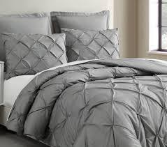 estellar 3pc light grey comforter set queen size pinch pleat pattern down alternative pintuck bedding by cozy beddings com