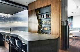 corner curved mini bar. Liquor Bar Design With Modern Geometric And Simple Color Scheme Also Wood Cabinet Storage Floating Bottle Shelves Solid Hardwood Flooring Corner Curved Mini O