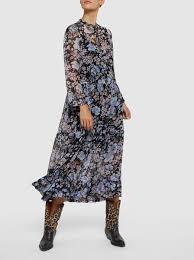 Alexondra Floral Print Viscose Midi Dress