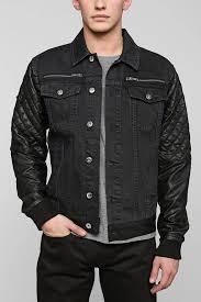 urban outfitters black apple bushwick faux leather sleeve denim jacket