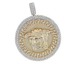 10k yellow gold 1 00ct diamonds medusa head pendant