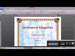 How To Make A Certificate In Word 2010 Making Certificate Using Microsoft Word 2010 Youtube