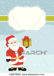 Vector Christmas And New Year Card Template With Santa Claus On Snow Background Vector Christmas Card Clipart