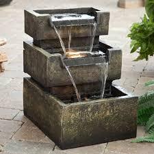 Lighted Water Fountain Outdoor Decor Indoor Outdoor Stone Resin 3 Tier Led Lighted Water Fountain Home Decor Garden