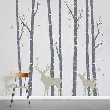 on white birch tree wall art with birch trees forest with deer wall decal
