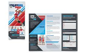 How To Create A Trifold Brochure In Word Volleyball Camp Brochure Template Design