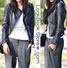 womens shoulder pads quilted genuine sheepskin leather black biker coat jacket we heart