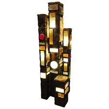 glass floor lamp. Abstract Patinated Metal And Glass Floor Lamp In The Style Of Poliarte For Sale
